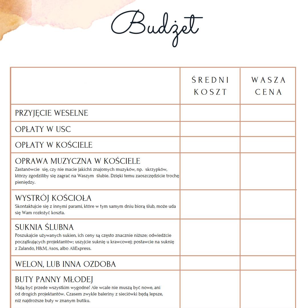 oragnizer ślubny pdf budżet ślubny